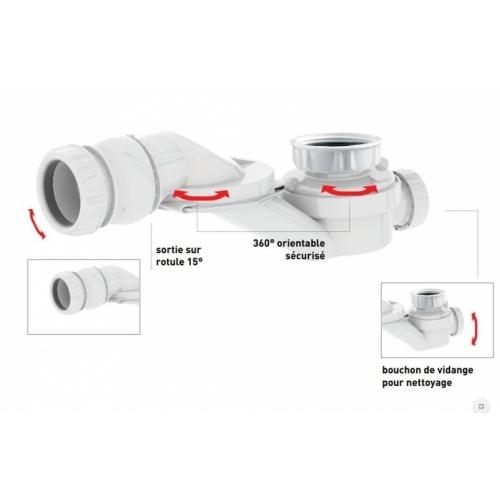 Siphon orientable extra-plat pour baignoire - 560000* 560000 Zoom