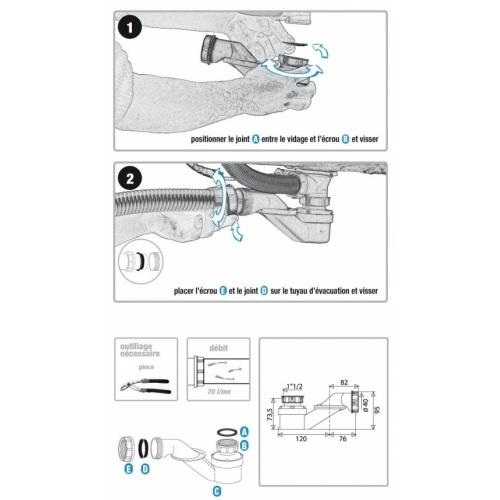 Siphon orientable extra-plat pour baignoire - 560000* 5600 Siphon_notice