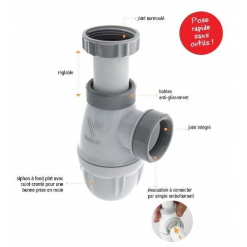 Siphon lavabo bi-matière-joint intégré CONNECTIC sortie Ø 32 - 6107* Siphon Connectic Valentin