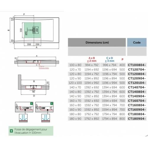 Receveur rectangulaire CUSTOM TOUCH Corda - Hauteur 3.5 cm - 100x80 cm CUSTOM Touch 3 5 cm Côtes