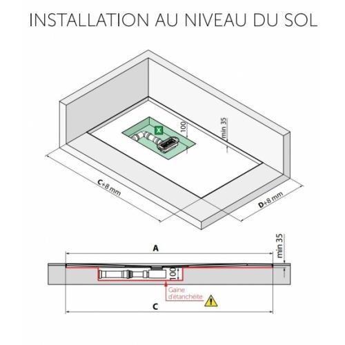 Receveur rectangulaire CUSTOM TOUCH Corda - Hauteur 3.5 cm - 100x80 cm Installation au niveau du sol