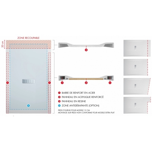 Receveur rectangulaire CUSTOM TOUCH Corda - Hauteur 3.5 cm - 100x80 cm Schéma custom