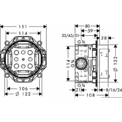 Corps d'encastrement iBox universal 01800180 plan 01800180