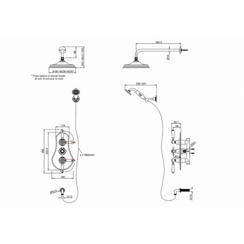 Pack à encastrer douche thermostatique SEVERN - Burlington VF3S-V16_LD