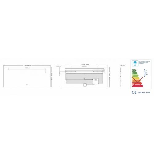 Miroir éclairant KATHY - 140x60 cm Miroir KATHY 140 - Schéma