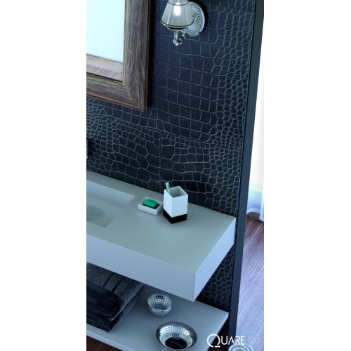 Receveur de douche STYLE texture Peau de Crocodile Graphite 70x70 cm PanneauAllure_noir