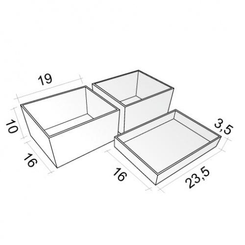 Lot de 3 Boîtes de rangement cosmétique Boites-de-rangement Schéma