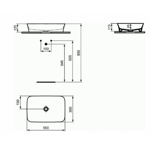 Vasque rectangulaire à poser IPALYSS Sauge - 55x38 cm E2076 Schéma