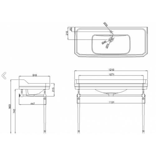 Vasque rectangulaire et console Edouardien BURLINGTON 120 cm B19 T51 Schéma