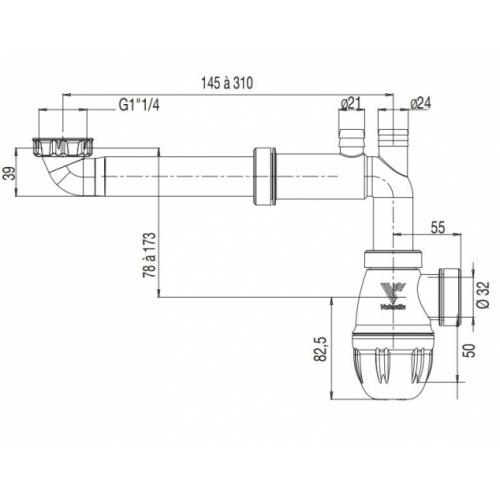 Tubulure de raccordement Bi-matière Gain d'espace 00-611100-tubulure_Schéma