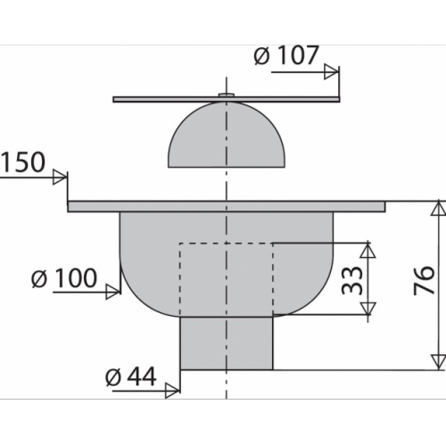 Bonde de sol carrée Sortie Verticale 150x150 mm* 4615 Schéma