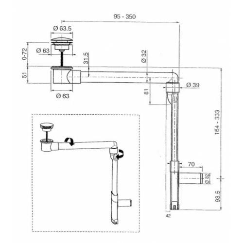 Siphon gain de place en ABS UD152S51 Schéma