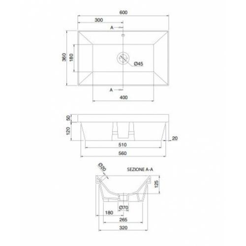 Vasque à encastrer TEOREMA 2.0 60 cm - 5131 5131 Schéma
