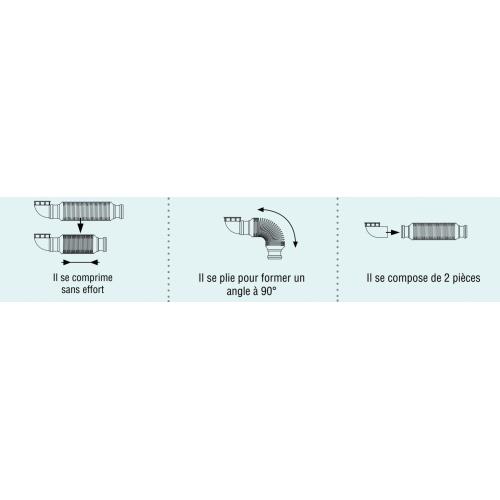 Siphon souple ultra-plat SENZO pour lavabo SENZO Flexible