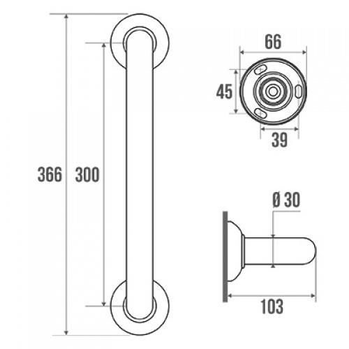 Barre d'appui droite 300 mm Schéma 049130