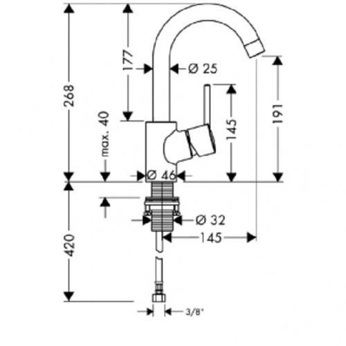 Mitigeur lavabo bec haut orientable 360° Talis S2 32073 COTES TALIS S² 32072