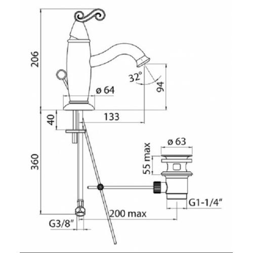 Mitigeur lavabo chromé DUBAI DB00118-1 COTE
