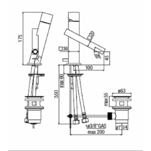 Mitigeur lavabo chromé TOWER TW00118-1 COTE