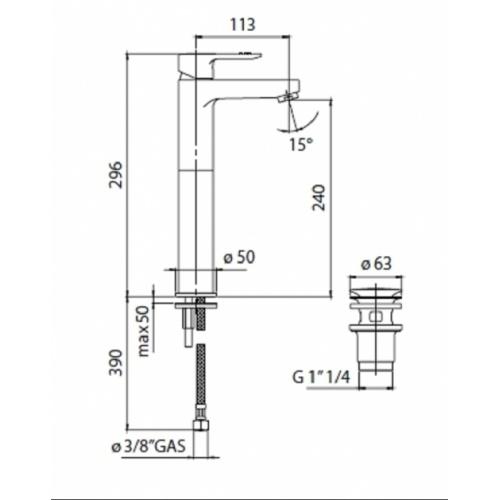 Mitigeur lavabo réhaussé chromé NEW ROAD RD00128/2 COTE