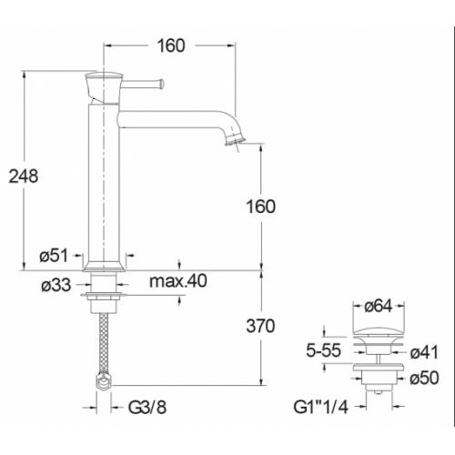 Mitigeur lavabo mi-haut PIQUE CLASSIC PR22751 Pr22751 cote