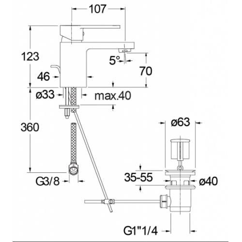 Mitigeur lavabo ROUND RN22151 Rn22151 cote
