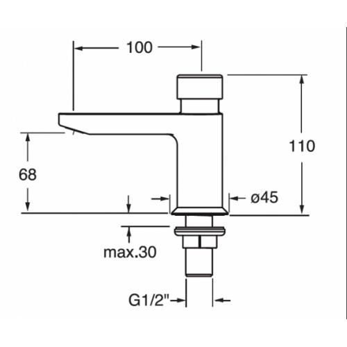 Robinet lave-mains QUIK temporisé uniquement eau froide - Q523051 Q523051 cote
