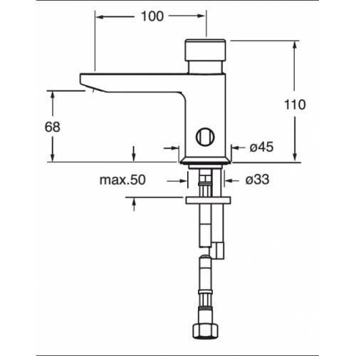 Robinet lave mains temporisé eau chaude/froide QUICK Q523251 Q523251 cote