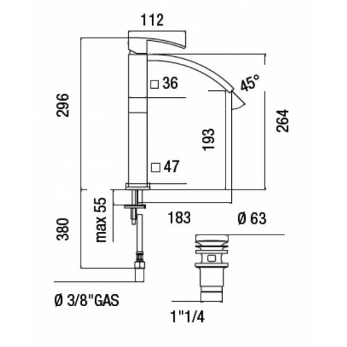 Mitigeur de lavabo monocommande rehaussé RAY chromé Ray00128 2 cote