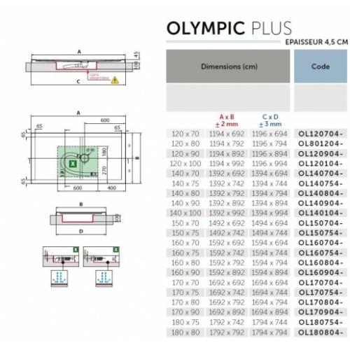 Receveur Olympic Plus Blanc - Hauteur 4.5 cm - 120x70 cm Schéma OLYMPIC Plus 4.5 cm